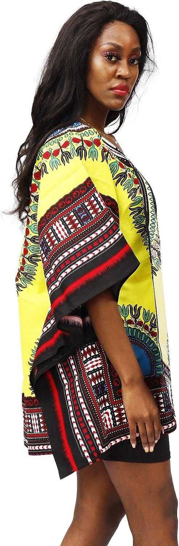 Shenbolen Women African Dashiki Print Shawl Collar Cardigan Long Length Drape Cape (One Size, C)