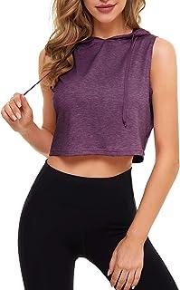 DIRASS Women's Sleeveless Hooded Crop Tank Top Workout Shirts