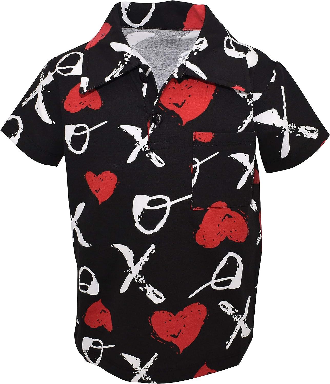 Unique Baby Boys Valentine's Day XOX Print Polo Pullover Shirt
