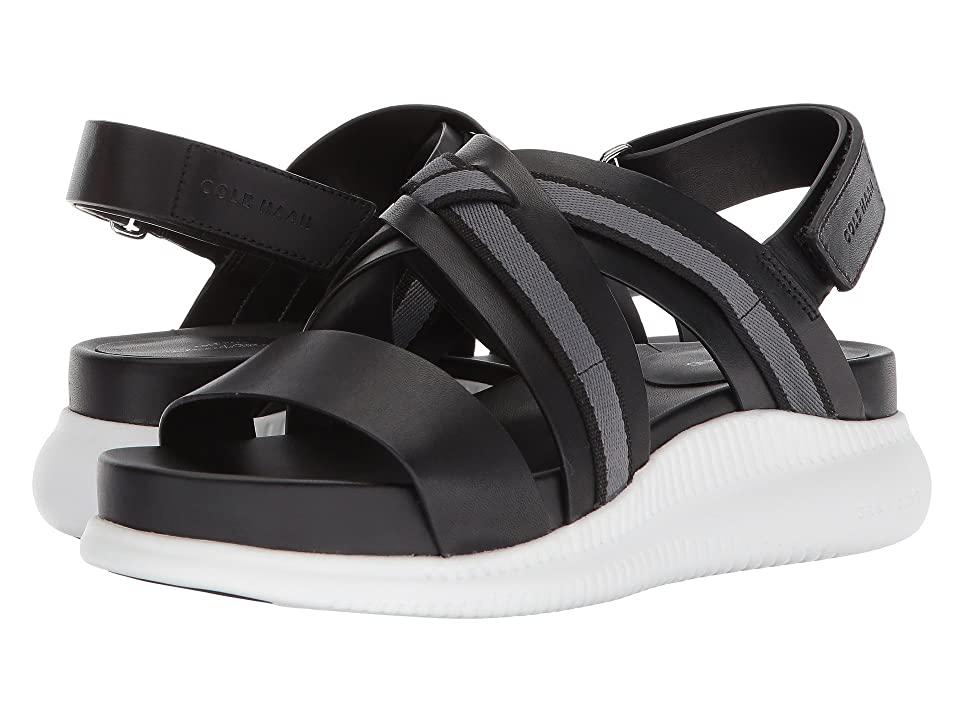 Cole Haan 2.Zerogrand Crisscross Sandal (Black Leather/Webbing/Optic White) Women