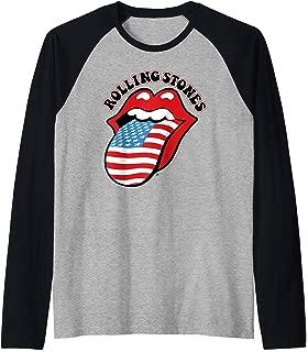 Rolling Stones Official Vintage US Tongue Raglan Baseball Tee