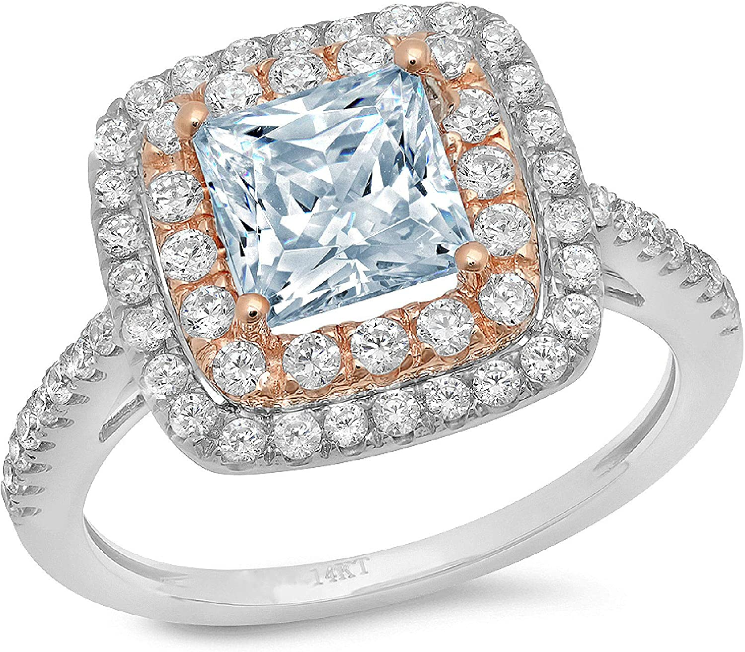 2.36 ct Princess Cut Double Halo Solitaire Accent Genuine Flawless Natural Sky Blue Topaz Gemstone Engagement Promise Statement Anniversary Bridal Wedding Ring Solid 18K 2 tone Gold