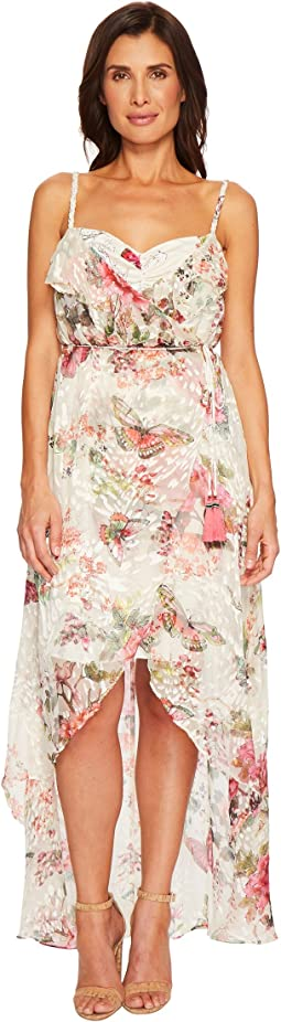 Hale Bob Petal Pusher Satin Burnout Wrap Dress