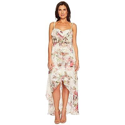 Hale Bob Petal Pusher Satin Burnout Wrap Dress (Ivory) Women