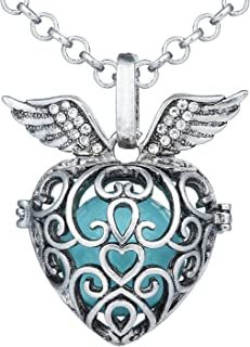 Bonnie Copper Locket Necklace Ball Necklace Angel Wings Pendant Chime Bell Sounds for Baby and Women