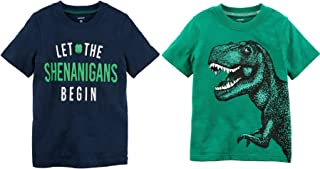 Carter's Baby Toddler Little and Big Boy's St Patrick's Day Set of 2 Short Sleeve Shirts (Navy Let The Shenanigans Begin and Green Dino, 7)