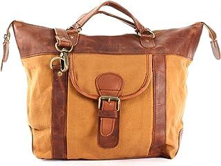 LECONI Henkeltasche Shopper Damen Tasche Vintage-Style Canvas  Leder Handtasche Used-Look Damentasche Frauen Schultertasche 39x30x13cm LE0043-C