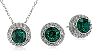 Sterling Silver Emerald Green Round Halo Pendant Necklace and Stud Earrings Jewelry Set Made with Swarovski Crystal