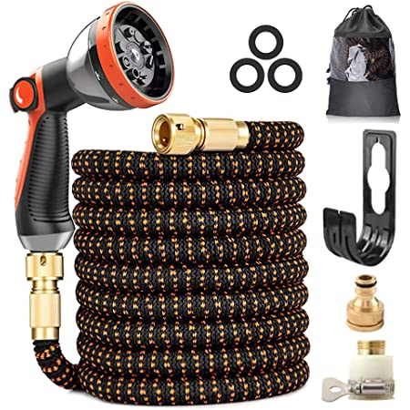"""Expandable Garden Hose, Upgraded 3-Layer Latex Hose Pipe, 3/4""""&1/2"""" Solid Brass Connectors, Durable 3450D Weave, No-Kink Flexible Water Hose, 10 Function Spray 50FT/15M"""