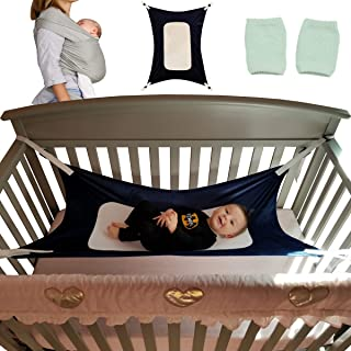 Premium Baby Hammock for Crib Bundle- Perfect for Newborns, Soft Safe and Resilient, Mimics Womb, Includes Bonus Baby Wrap and Knee Pads