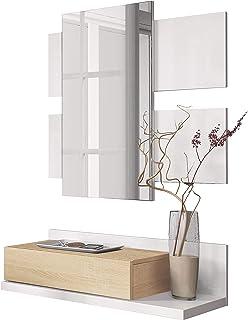 Habitdesign 0F6742A - Recibidor con cajón y Espejo Mueble de Entrada Modelo Tekkan Acabado en Roble Canadian - Blanco Art...