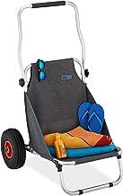 Relaxdays Strandwagen, inklapbaar, strandstoel met wielen, mobiele strandstoel, licht, 2 luchtbanden, transportstoel, grijs