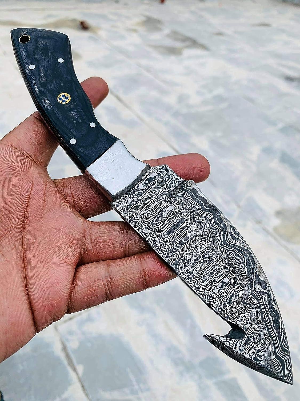 09 BandLe Custom Handmade 5 popular Gorgeous Hunting Damascus Stee Knife Camp
