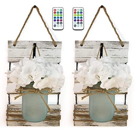 Marino Essentials Mason Jar Wall Sconces | Remote Control 12 Color LED Lights | Farmhouse Decor for Living Room Wall Decor | Silk Hydrangea Design for Home Decoration | Set of Two (White-Blue Jar)