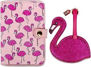 Flamingo passport holder and luggage tag gift US pink red passport cover for girls women RFID Blocking PU Leather Passport Holder Travel Passport Wallet Case (Flamingo)