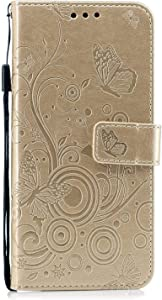 Huawei Mate Lite Case  HCUI Embossed Big Butterfly Flower Pattern Leather Wallet Stand Flip Case for Huawei Mate Lite Gold