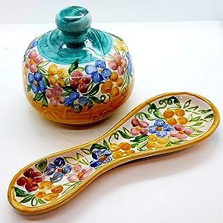 Set Nascondispugna Poggiacucchiaio Linea Fiori Rosa per Cucina Handmade Le Ceramiche del Castello Made in Italy