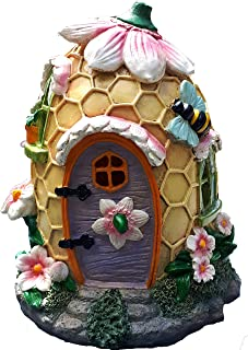 Mystic Garden Solar Resin Fairy Garden House. Beehive Design. Lights up at Night; Indoor or Outdoor Fairy Home for Flower Gardens, planters, Window Boxes, Terrarium or Yard.