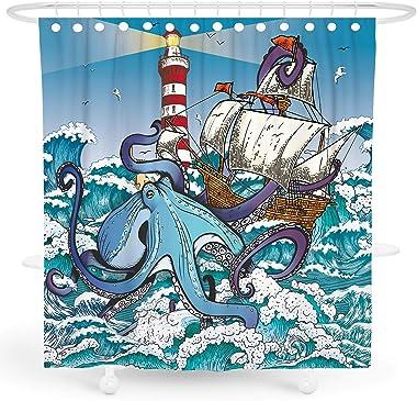 DESIHOM Octopus Shower Curtain, Kraken Shower Curtain Nautical Shower Curtain Ocean Shower Curtain Cool Pirate Shower Curtain