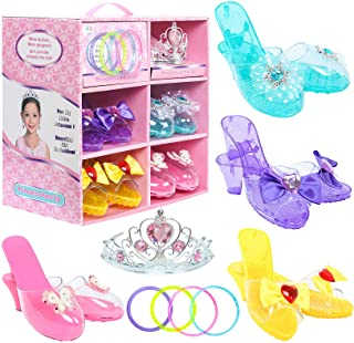 Toiijoy Girls Princess Dress up Shoes Role Play Collection Set with Princess Tiara and Bracelets for Little Girls