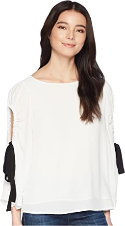 Petite Bell Sleeve Tie Cold Shoulder Blouse