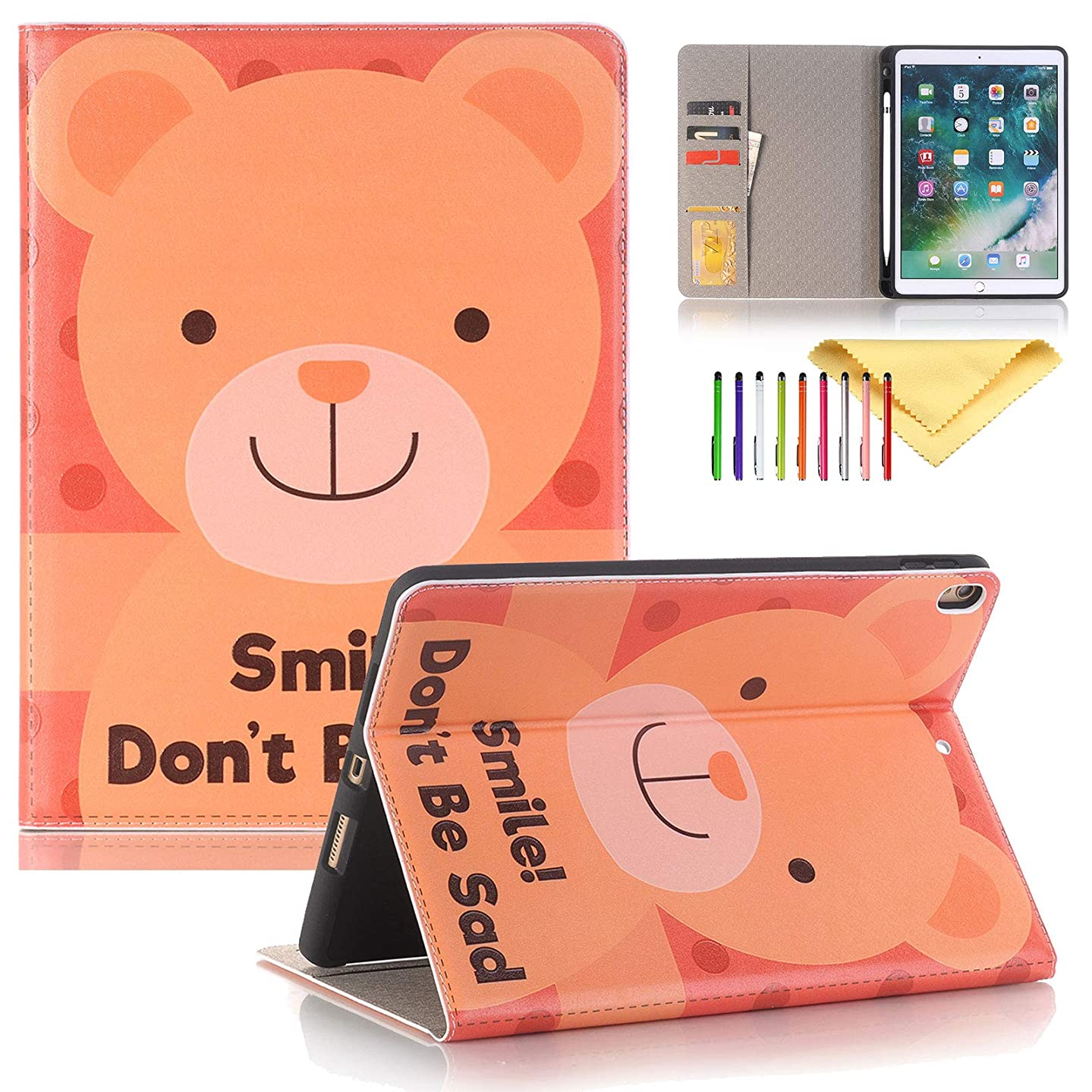iPad Air 3 Case 2019 with Pencil Holder, iPad Pro 10.5 Inch Case 2017, Cookk Cartoon PU Leather Cases and Covers with Auto Sleep/Wake & Card Slots Smart Cover Kids for Apple 10.5