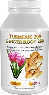 Andrew Lessman Turmeric 200 Ginger Root 200 - 120 Capsules – Naturally Soothe The Joints and Digestive Systems. Two Pure E...