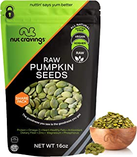 Raw Pumpkin Seeds Pepitas, No Shell, Superior to Organic (16oz - 1 Pound) Packed Fresh in Resealble Bag - Nut Mix Snack - ...