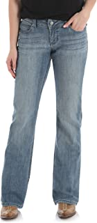 Wrangler Women's Premium Patch Mae Boot Cut Jean-Sits above Hip, Medium Blue, 9x32