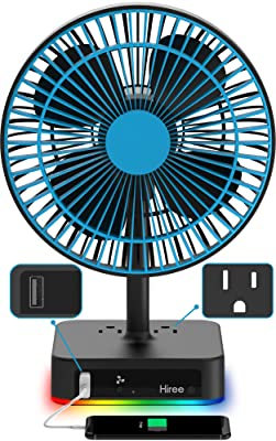 Hiree Table Fan 2 AC Outlets, 1 USB Charger, RGB Lights. Quiet Air Circulator Desk Fan.