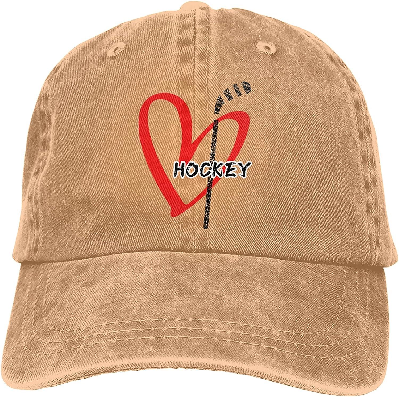 Hockey Heart Baseball Cap Trucker Hat Retro Cowboy Dad Hat Classic Adjustable Sports Cap for Men&Women Natural Black