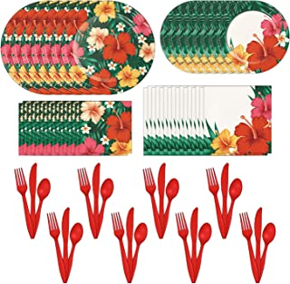 Sponsored Ad - Creative Converting Tropical Flowers Party Dinnerware Bundle | Plates, Napkins, Cutlery | Floral-Themed Eve...