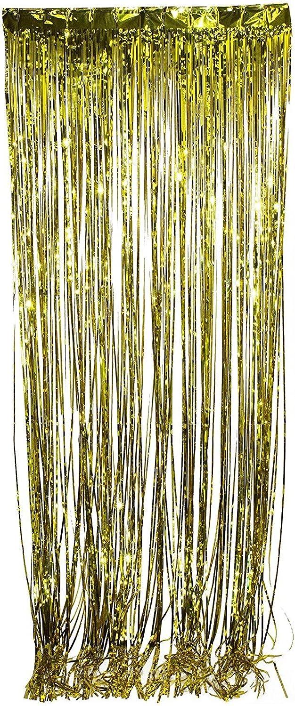 Tytroy Shimmer Door Curtains Fringe Metallic Foil Tinsel Various colors Packs 3'x8' (12, gold)