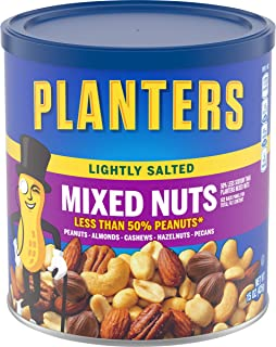 Planters Lightly Salted Mixed Nuts (15 oz Canister) - Variety Mixed Nuts with Less Than 50% Peanuts with Peanuts, Almonds,...
