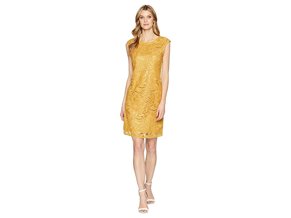 NIC+ZOE Sequin Lace Shift Dress (Gold) Women