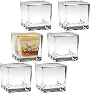 A2S Clear Glass Candle Holders Square - Set of 6 - Cube Votive Candle Holders - Tealight Holders - Fits The All2shop Scented Votive Candles - Gift Wedding, Birthday, Christmas & Holiday Home Decor
