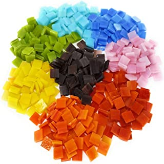 Colorful Mosaic Tiles – 480 Pieces Pack of Assorted Stained Glass Mosaic Tile Supplies for DIY Crafts, Plates, Picture Frames, Flowerpots, Handmade Jewelry – Small Square Decorative Tiles in 8 Colors