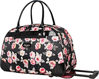 Kathy Van Zeeland Women's 22 Inch Printed Rolling Carry-On (One Size, T-Rose)