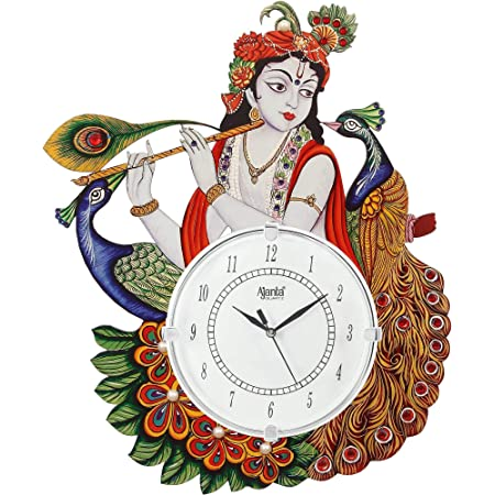 DRC Wooden Antique Lord Krishna with Peacock Feather Designer Wall Clock for Home Study Living Room & Office Decor (12 x 16.5 inch, White)