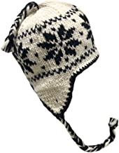 Nepal Hand Knit Sherpa Hat with Ear Flaps, Trapper Ski Heavy Wool Fleeced Lined Cap Small (White/Brown Snowflake)