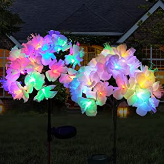 Solar Garden Lights Outdoor, VANZEV Colorful Gorgeous Handmade Camellia Flowers with Vivid Stamens, Solar Powered Waterpro...