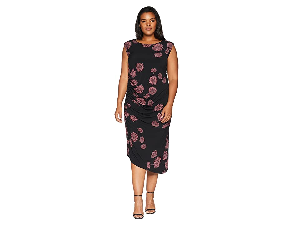 Vince Camuto Specialty Size Plus Size Cap Sleeve Chateau Floral Side Ruched  Dress (Rich Black) Women\'s Dress