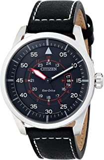 Eco-Drive Men's AW1361-01E Sport Stainless Steel Watch with Leather Band