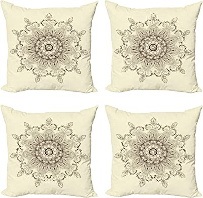"""Ambesonne Lotus Throw Pillow Cushion Case Pack of 4, Mandala Universe Unity of Life Shabby Form Motif, Modern Accent Double-Sided Digital Printing, 16"""", Brown Cream"""