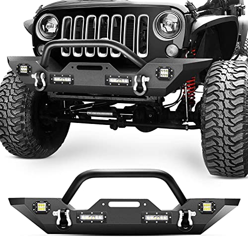 high quality Nilight Front Bumper Compatible for 07-18 Jeep Wrangler JK & Unlimited Rock Crawler Bumper with 4 x LED Lights, Winch Plate and 2 lowest x D-Rings,Upgraded Textured 2021 Black,2 Years Warranty, middle (JK-51A) online sale