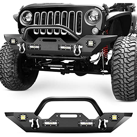 Nilight Front Bumper Compatible for 07-18 Jeep Wrangler JK & Unlimited Rock Crawler Bumper with 4 x LED Lights, Winch Plate and 2 x D-Rings,Upgraded Textured Black,2 Years Warranty, middle (JK-51A)