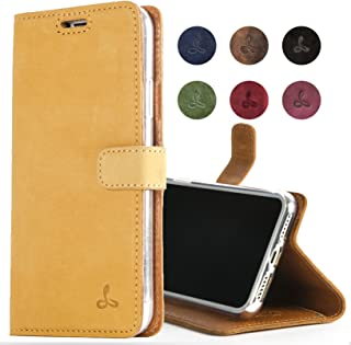 iPhone 8 Plus, Snakehive Genuine Leather Wallet with Viewing Stand and Card Slots, Flip Cover Gift Boxed and Handmade in Europe by Snakehive for iPhone 8 Plus - (Honey Gold)