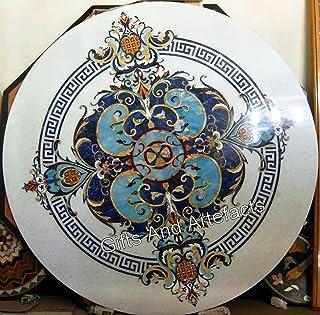 Gifts And Artefacts Table de salle à manger unique en marbre blanc 60 cm avec plusieurs pierres semi-précieuses