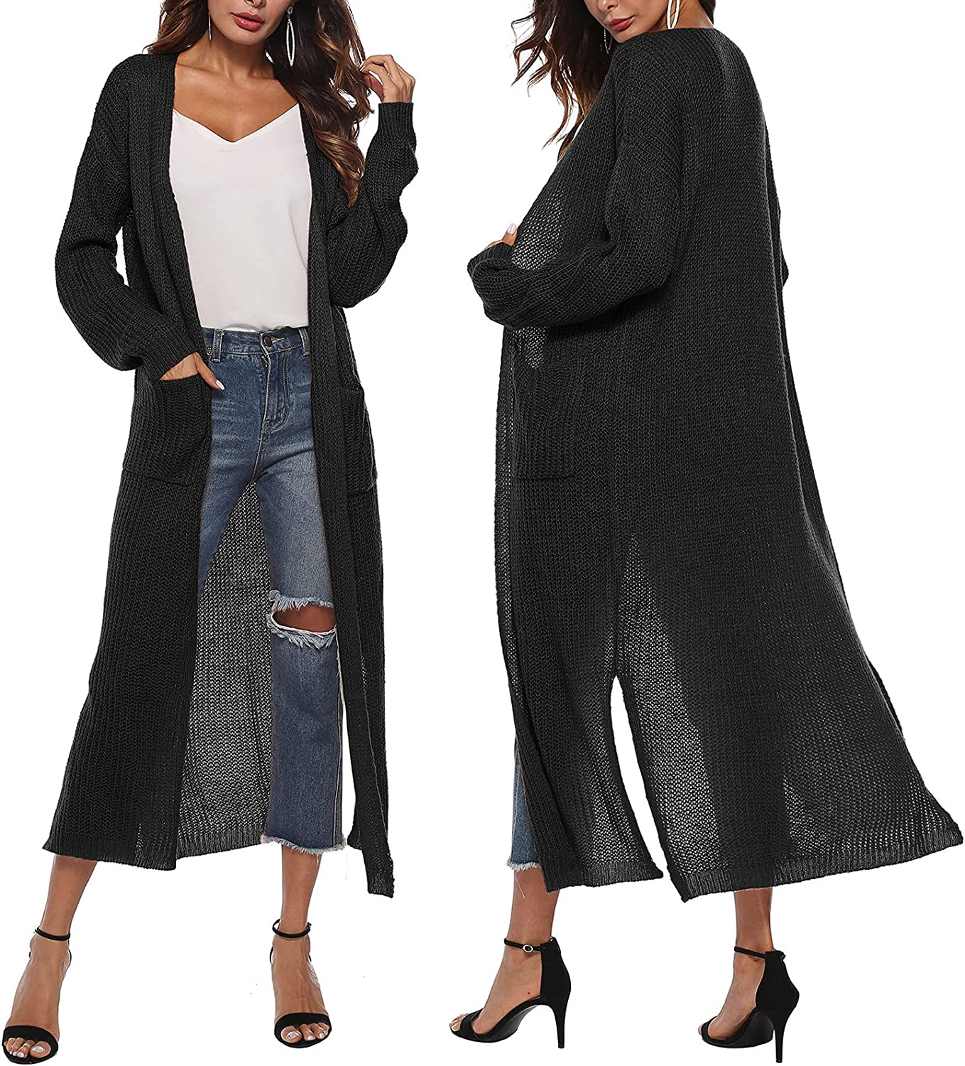 Long Kimono Cardigan Lightweight Women Y2k See Through Long Sleeve Open Front 2 Pocket Draped Sweaters with Slit