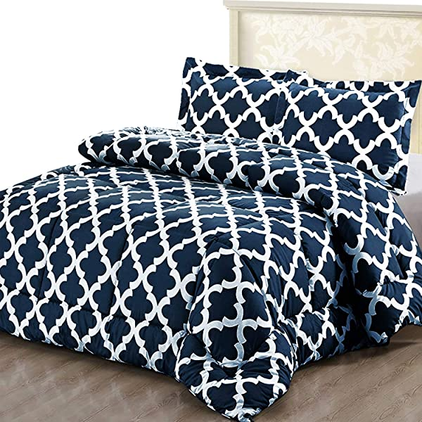 Utopia Bedding Printed Comforter Set Queen Navy With 2 Pillow Shams Luxurious Brushed Microfiber Goose Down Alternative Comforter Soft And Comfortable Machine Washable